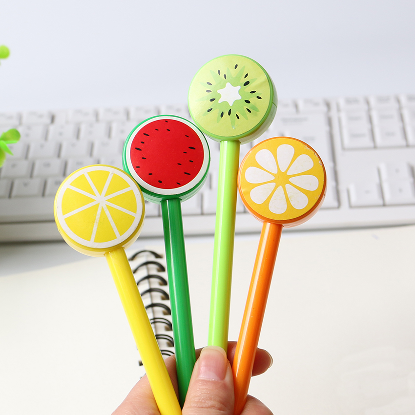 3 PCS Cute Fruit Lollipops Gel Pens Writing 0.5mm for Students Stationery Office School Supplies