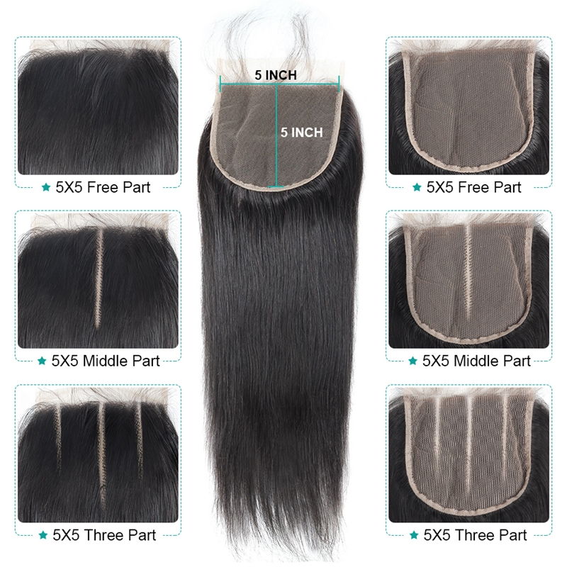 Image 4 - Allove Brazilian Straight Hair Lace Closure 8 20inch 5*5 Closure Free Middle Three Part Swiss Lace Closure Non Remy Human Hair-in Closures from Hair Extensions & Wigs