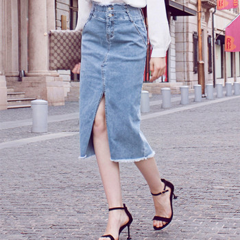 Free Shipping 2020 New High Waist Long Summer Mid-calf Elegant Women Pencil Skirt With Slit XS-XL Jeans Denim Stretch Skirts free shipping 2020 new fashion wool elegant long mid calf women skirts pencil s xl high waist autumn and winter striped skirts