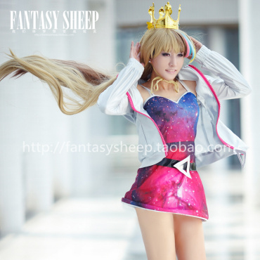 FANTASY SHEEP Free shipping charm Vocaloid3 galaco galaxy double rainbow color cosplay wig long hair length 120cm gold color