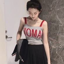 2019 Sexy Crop Tops For Women Color Block Letter Print Sleeveless Pullover Knitted Camisole Casual Fitness Tight Tank