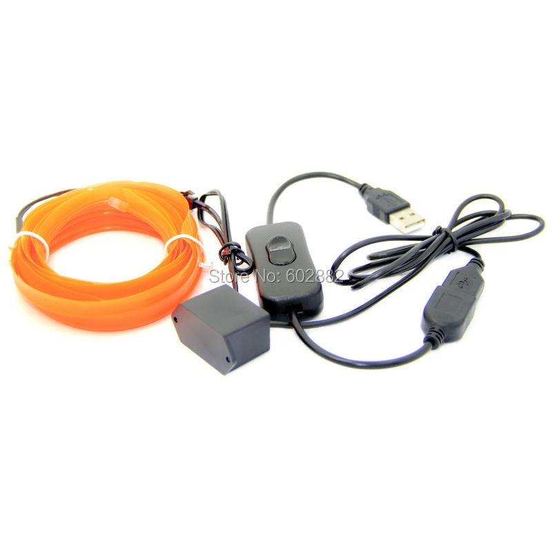3 เมตร (กระโปรงลวด) 2.3mm el ลวด + - หลอดไฟ LED