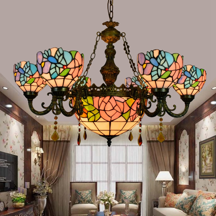 Tiffany Baroque Flesh flower Stained Glass Suspended Luminaire E27 110 240V Chain Pendant lights for Home Parlor Dining Room