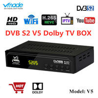 Vmade V5 DVB S2 HD Receptor Digital Tv Box Free Satellite Receiver H.265 IPTV m3u Player Youtube USB WIFI CS BissVu TV Decoder