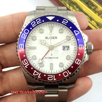 43mm bliger white dial date window sapphire glass automatic mens wrist watch P24