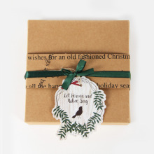 8pc Delicate Brown  Handmade Gift Box Craft Paper Christmas with Mistletoe Leaves and Singing Bird Tags Candy Presents