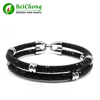Rock Boy Cruel Black Stingray Bracelet Silver Round Beads Bracelet Genuine High Grade Stingray Bracelet