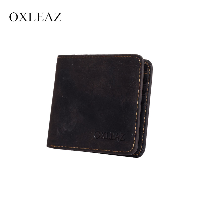 OXLEAZ Male Brand Wallet Men Purse Handy Bag Men's Short Crazy Horse Leather Slim Wallet Minimalist Card Holder Wallets for Men 2017 new men wallets contact s genuine crazy horse cowhide leather short purses for brand men casual card holder designer wallet page 8