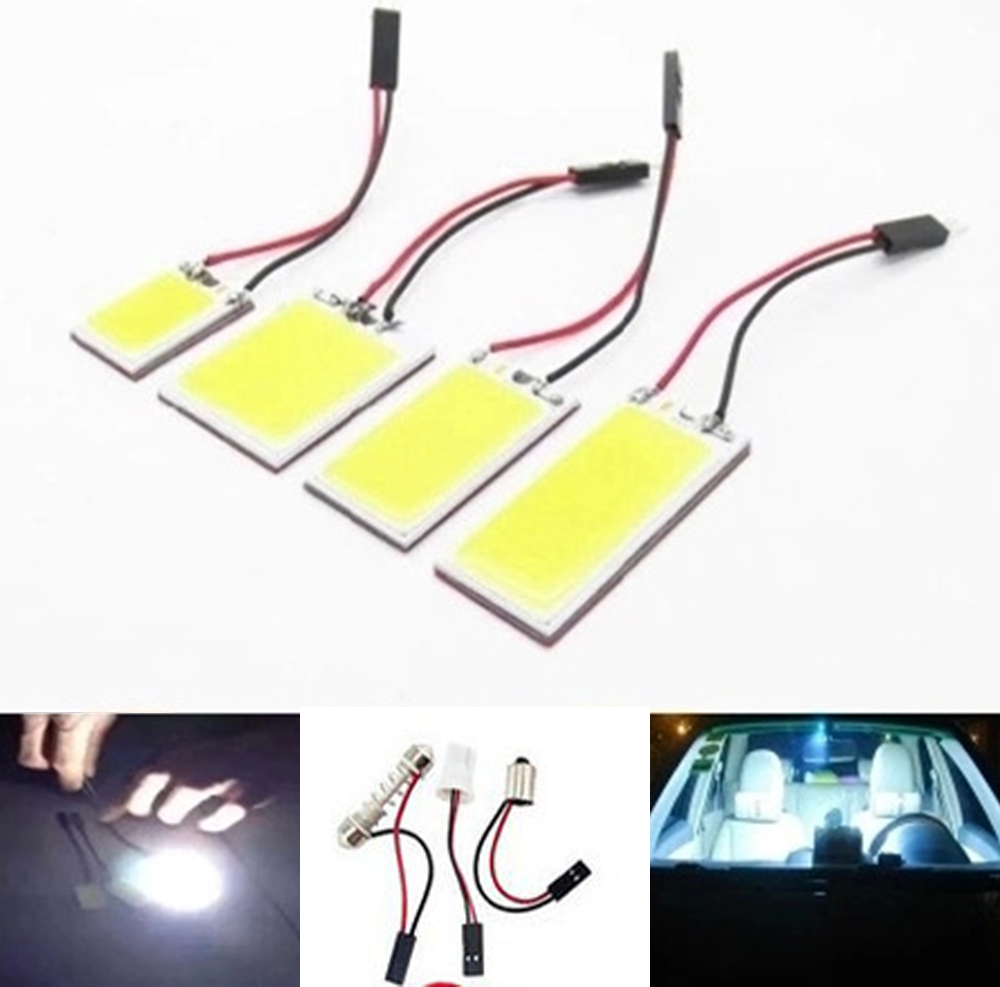 100X 21 <font><b>24</b></font> 36 48 <font><b>SMD</b></font> COB Chip 12V Dome Light With <font><b>T10</b></font> Festoon Ba9s Adapters White Car Vehicle LED Panel Lamps image