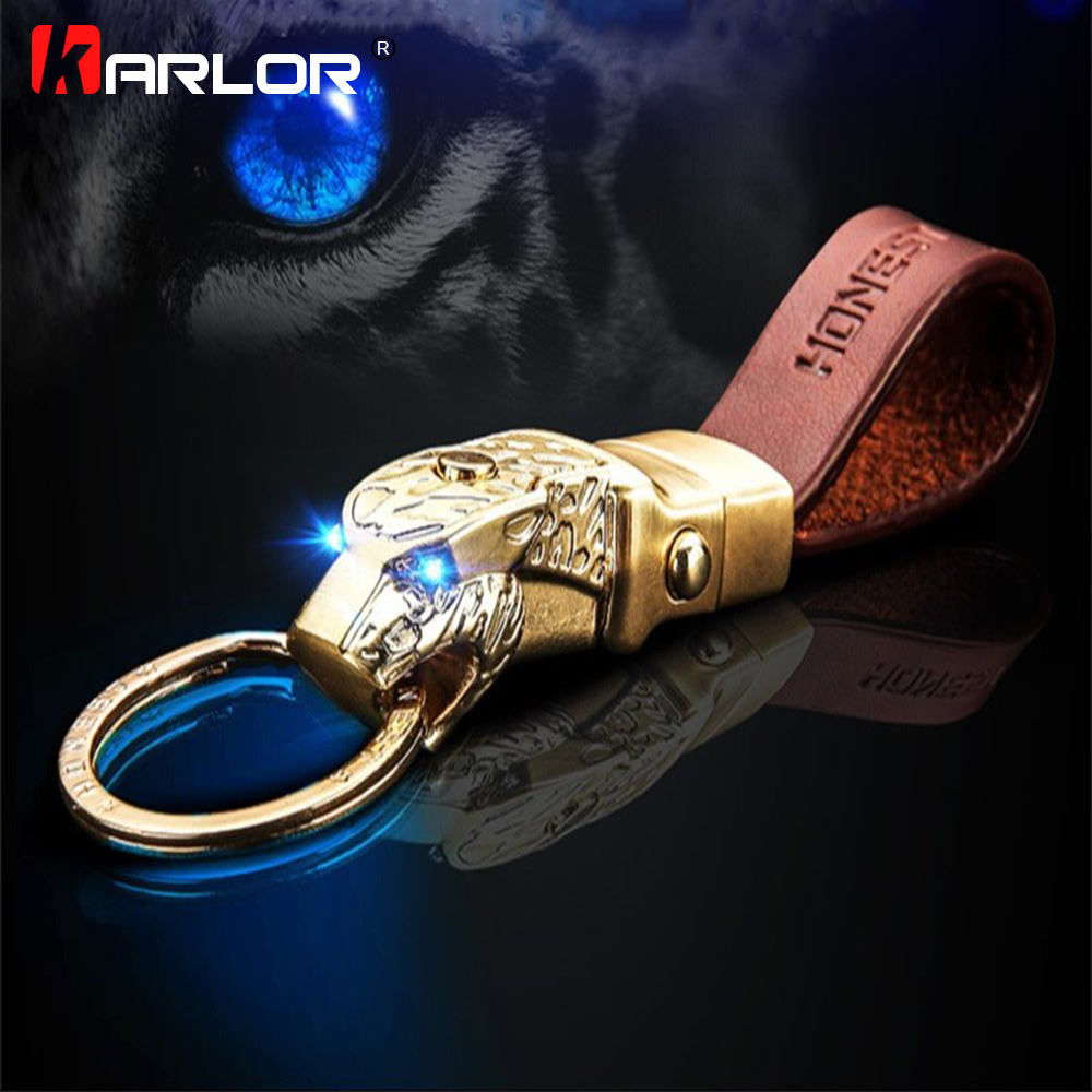 Creative LED Light Leopard Head Model Keychain Real Cowhide Key Holder Car Keyring Automobile Car Styling Car Accessories Gifts car styling keychain