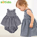 Baby Girls Dress 2016 New Casual Plaid Sleeveless Turn-down Collar Princess Dress + Plaid shorts 2pcs NewbornClothing Dress Sets