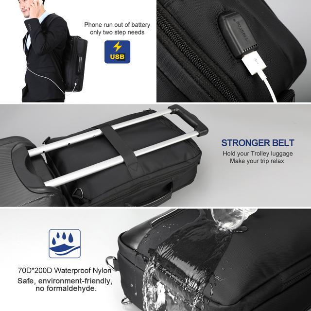 Tigernu 4 in 1 Multi function Nylon Men's Business shoulder Backpacks 15.6 inch USB Charging Laptop Bagpack Male Mochila Travel