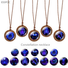 Wooden Constellation Necklace  Twelve Zodiac Sing Jewelry Woven Charm Lover Gift