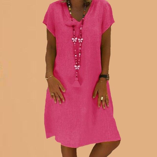 Khaki Dress Cotton Linen Sukienka 5xl Plus Size Summer Midi Dresses For Women Casual Wear Tunic Beach Dress Robe Femme Ete 2019