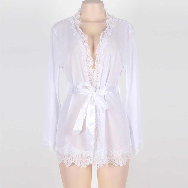 女性夏秋パースペクティブローブセットセクシーなレースバスローブ半透明ランジェリープラスサイズパジャマナイトウェアホーム服人間サンドバッグ