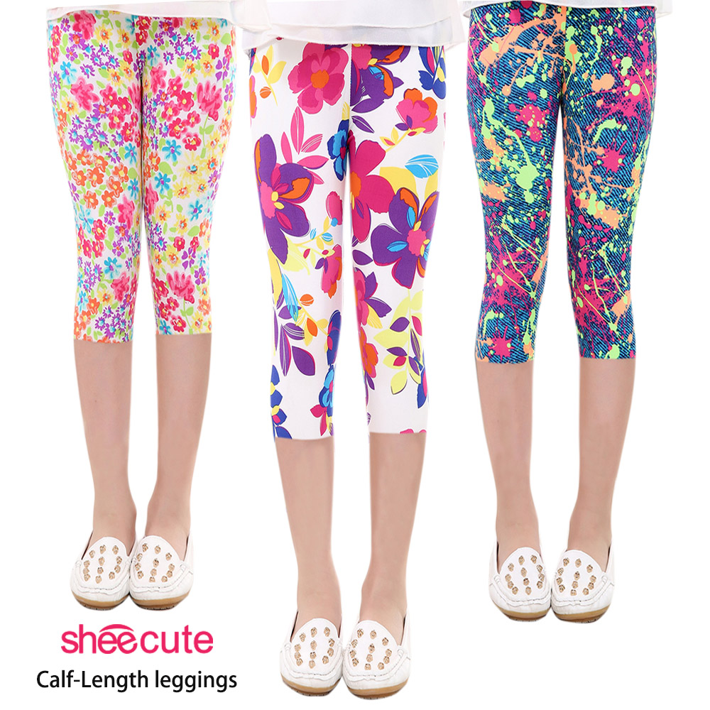 SheeCute New Arrival Hot Summer Kids Calf Length Fashion girls leggings print flowers girls pants childrens trousers