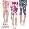 Muchachas de la manera caliente del verano 2016 niños nuevo llega la séptima polainas de impresión de flores pantalones de las muchachas pantalones de los niños