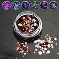 1g/bottle Mixed 1-3mm 3D Round Mini Thin Sequins Sparkly Nail Art Glitter Dark Color DIY Craft Nail Tools P8-14