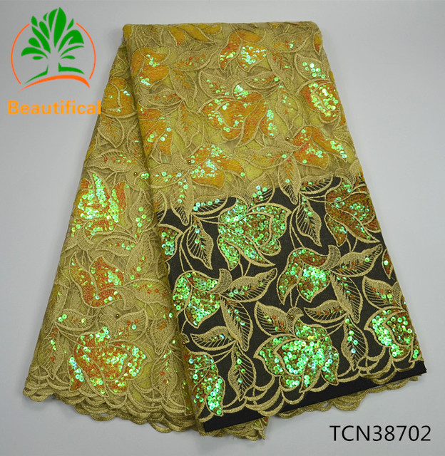 Beautifical African Organza Lace Fabric High Quality Gold Nigerian Sequins Lace Fabric 5Yards For Wedding TCN387