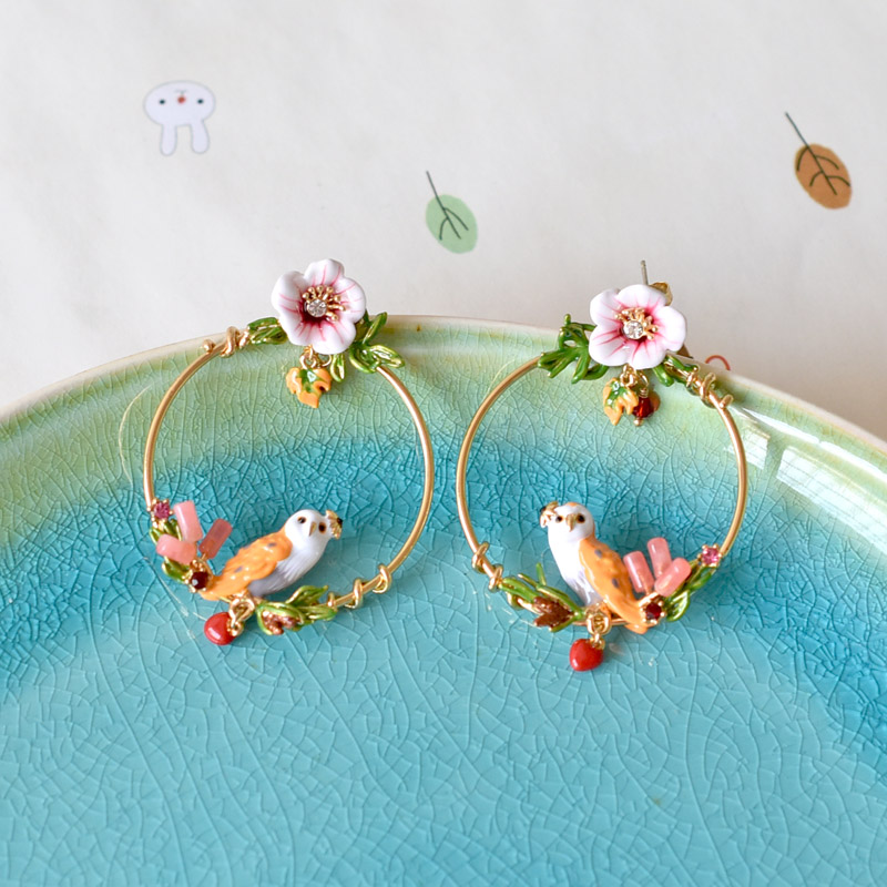 Warmhome Trendy Jewelry Enamel Glaze Copper Magic Animal Plant Series Owl Bird Rabbit Yellow Stork Flower Women Stud Earrings цена