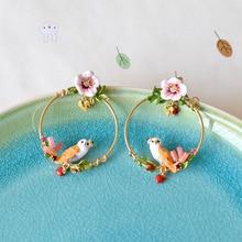 Warmhome Trendy Jewelry Enamel Glaze Copper Magic Animal Plant Series Owl Bird Rabbit Yellow Stork Flower Women Stud Earrings