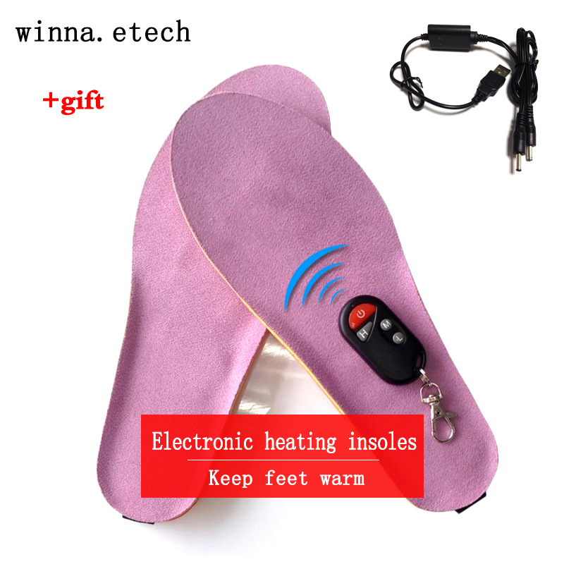 Electronic heating insole with wireless remote control winter insole woman shoes insole pad camping hiking insole Purple pink