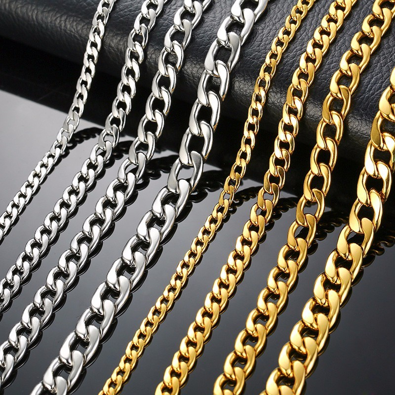 Silver Gold Filled Solid Necklace Curb Chains Link Men Choker Stainless Steel Male Female Accessories Fashion 2018(China)