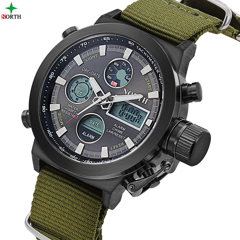 NORTH Brand Män Sport Watch Nylon Rem Dual Time Led Digital Mäns Watch Army Military 3ATM Vattentät Outdoor Quartz Clock
