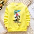 Camisolas dos miúdos Meninos Primavera Outono Topos de algodão Padrão Dos Desenhos Animados Meninas Hoodies Outerwear Crianças Traje Do Bebê Roupas 80-95 cm