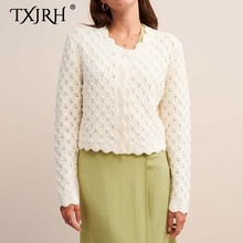 TXJRH Fashion Crochet Sweater Jumper Long Sleeve Knitted Single-Breasted Stylish Hollow Out Wave Hem Tops kleding jerseis mujer white hollow out scoop neck high low hem jumper