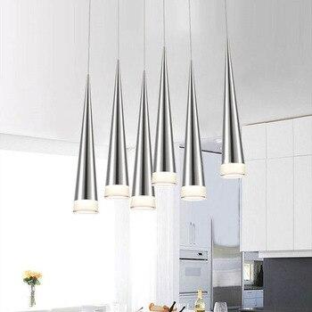 Простые светодиодные подвесные светильники AC85-265V 5 Вт Современные светодиодные лампы конический кулон алюминиевые ручное освещение Столов... >> LONKOEY Official Store