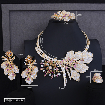 Luxury Nigerian womens necklaces jewelry christmas Gift Big Flower Shape Collar Necklace Earrings Bracelet Ring Jewelry Sets 2