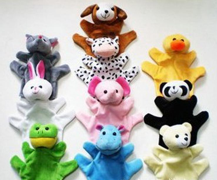 10pcs/lot Lovely Animal Hand Puppets,educational Cute Fashion Doll Toys Rabbit Cat Bear Ect,gift For Children Play Game
