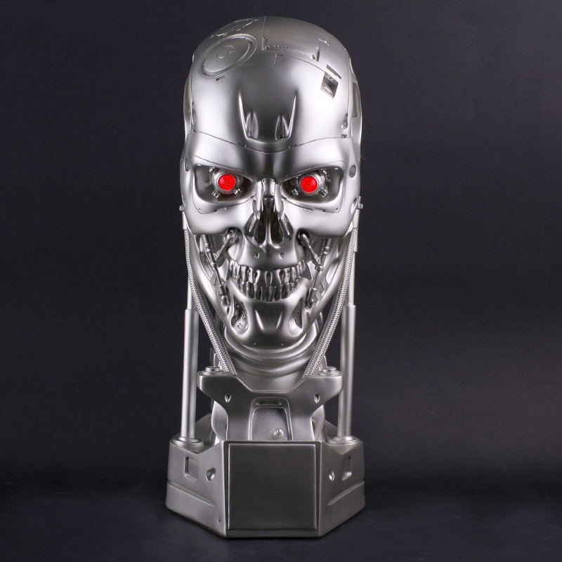 1:1 GK T800 Skull Terminator Endoskeleton Lift-Size Resin Bust With LED EYE Action Figure Collection Model Gift L1574 gmasking terminator 2 t800 endoskeleton skull head statue scale 1 2 replica