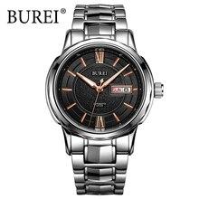 BUREI Tourbillon Automático Hombres Reloj Analógico Reloj Impermeable Reloj Masculino de acero de Tungsteno de Lujo de Cristal de Zafiro Relojes Hombre