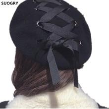 New Bowknot Wool Beret Hats Korean Style Women Winter Solid Blue Black Fashion Painter Stylish Female