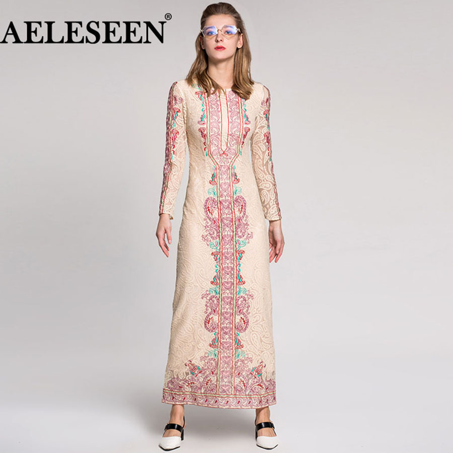 Luxury Ethnic Women Fashion High Quality Lace Full Sleeve 2018 Embroidery Slim Summer Vintage Runway Lace