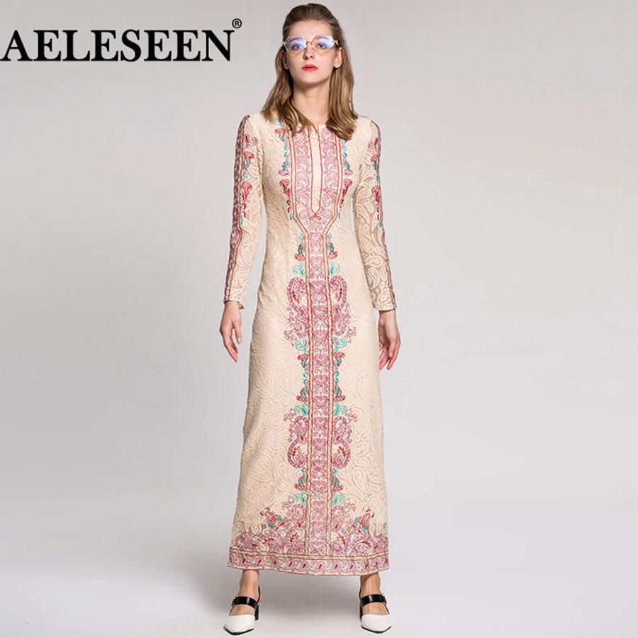 Vestido largo de encaje de alta calidad de moda étnico de lujo de mujer 2018 bordado delgado de verano Vintage de pasarela-in Vestidos from Ropa de mujer    1