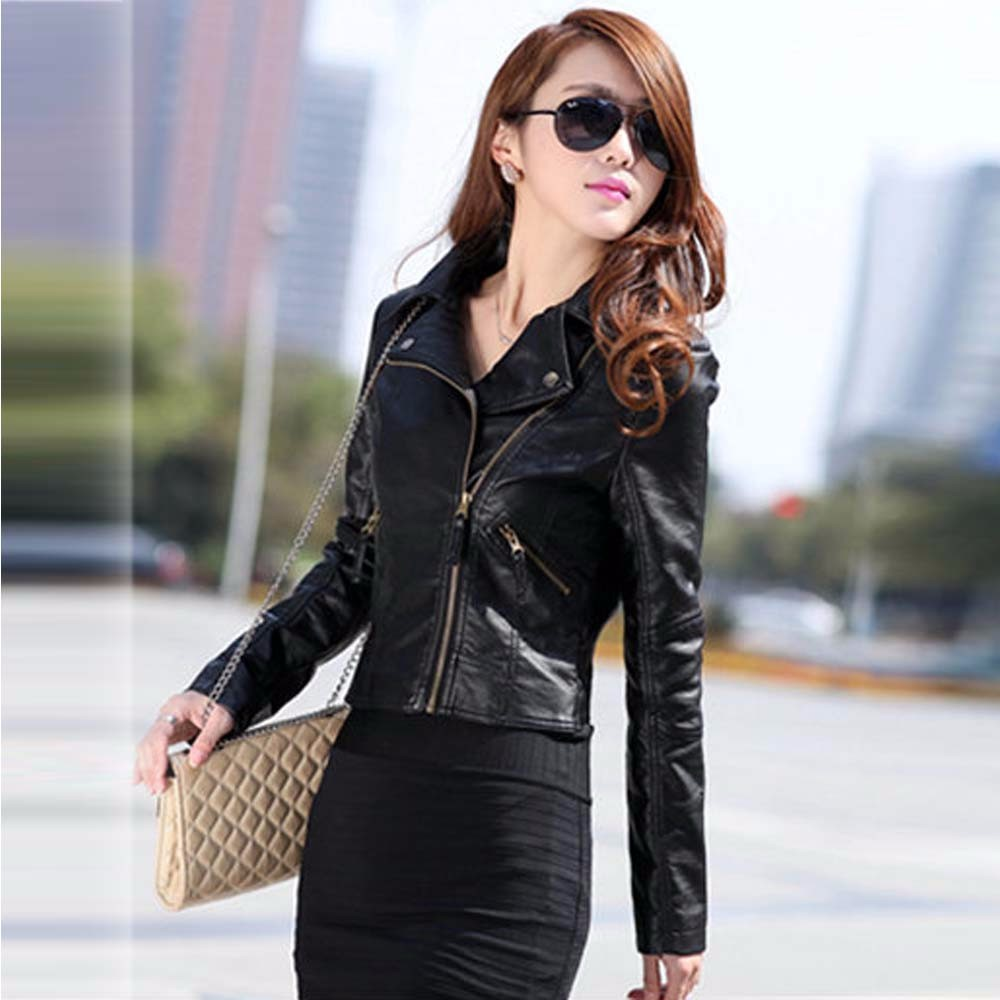 Vintage Women PU Leather Jacket Fashion Slim Biker Motorcycle Soft Faux Leather Zipper Jackets Coat 2016