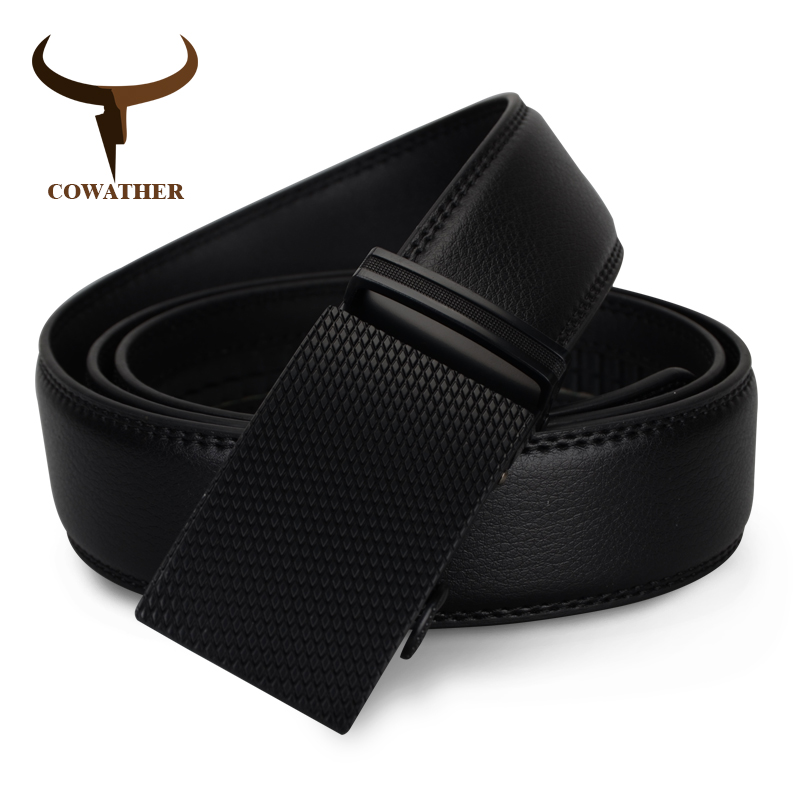 COWATHER luxury top cow genuine leather belt men high quality mens belts automatic buckle waistband for male strap free shipping