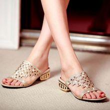 2016 sommer neue fashion square frauen hausschuhe frau casual sandal große größe 34-43