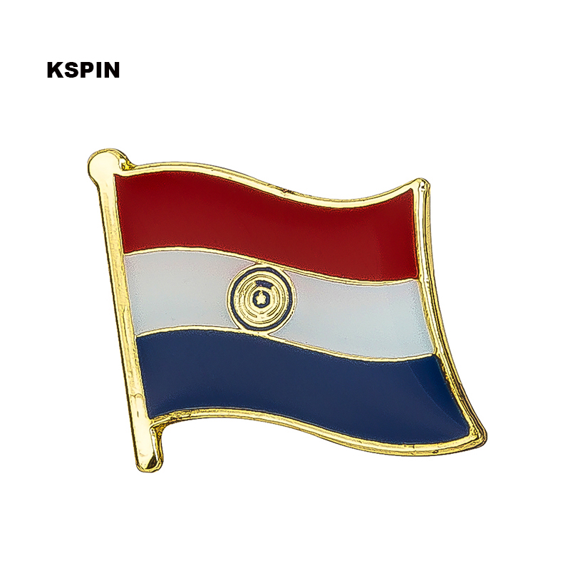 Paraguay flag badge pin lapel pin 100pcs a lot Brooch Icons KS 0026-in Badges from Home & Garden    1