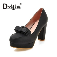 DoraTasia Small Big Size 32-43 Sweet Bowtie Woman Pumps Fashion Casual Super High Heels Party Dating Shoes Women
