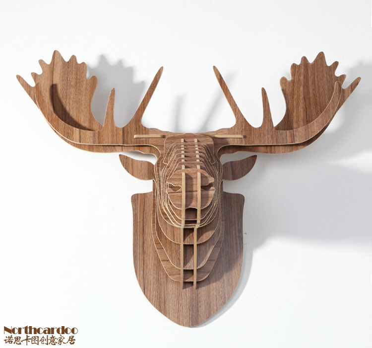 Carved 3d Wood Moose Head For Europe Style Home Decor Diy Creative Design Wooden Crafts Amp Gifts