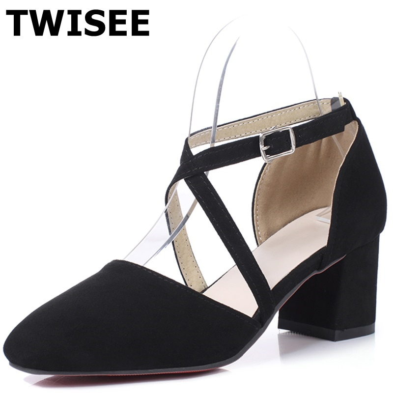 ФОТО TWISEE med heels 5.5 cm woman wedding shoes genuine leather Buckle Strap square toe summer sandals Mature woman casual shoes