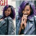 Модные короткие парики человеческих волос Бразильские glueless полный шнурок боб парик черный/фиолетовый ombre wig130density парик фронта шнурка с челка