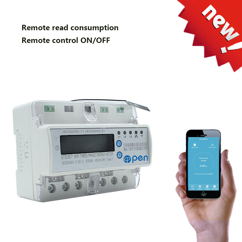 Three phase WIFI remote control Smart Switch with energy monitoring over under voltage protection for Smart