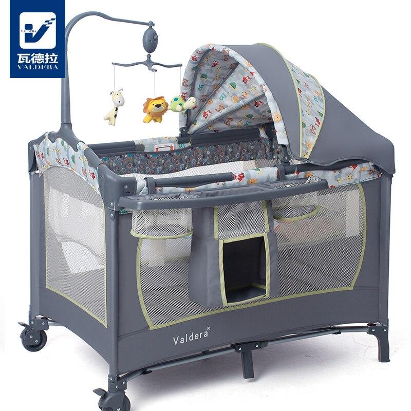 Valdera lit bébé pliant multifonctionnel mode lit de jeu portable bb lit bébé enfant lit berceau