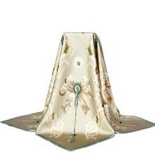 Винтажный кружевной большой квадратный шелковый шарф с принтом, женский шарф 90*90, шелк, платки из саржевого шелка, шаль, Роскошная ручная работа, Подарочная идея
