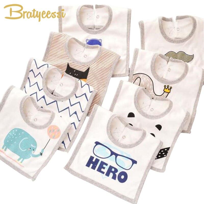 Fashion Cotton Baby Bibs with Buttons Cartoon Pattern Kids Baberos Saliva Towel 32*23cm 1 PC